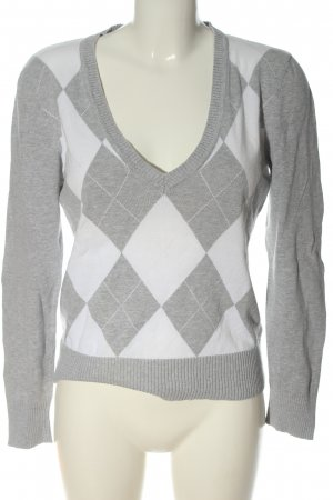 Street One V-Ausschnitt-Pullover hellgrau-weiß grafisches Muster Casual-Look