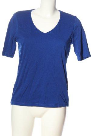 Street One Camisa con cuello V azul look casual