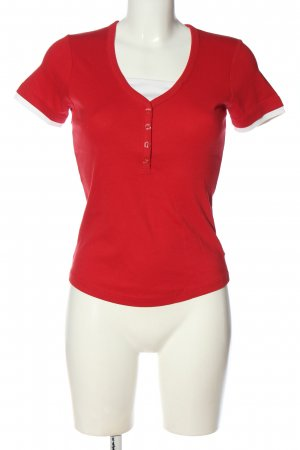 Street One Koszulka z dekoltem w kształcie litery V czerwony W stylu casual