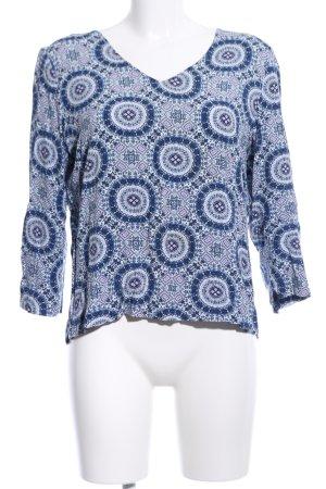 Street One V-Ausschnitt-Shirt blau-hellgrau Allover-Druck Casual-Look