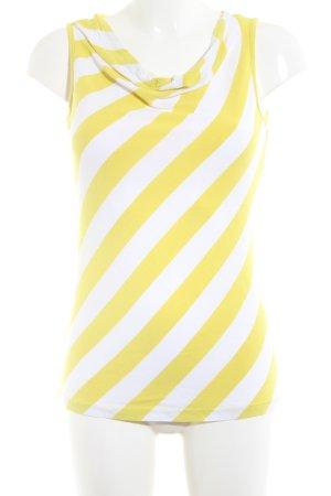 Street One Top collo ad anello bianco-giallo pallido motivo a righe stile casual
