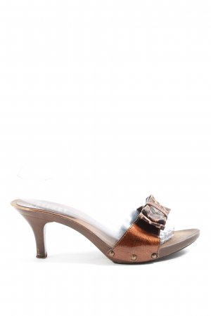 Street Super Shoes Heel Pantolettes brown animal pattern elegant
