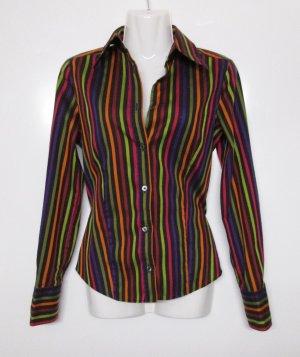 Streifen Bluse Eterna Silverline Größe 34 Schwarz Rot Grün Lila Orange Hemd Business Baumwolle