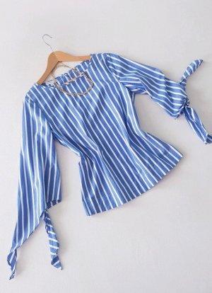 Streifen Bluse Weiß Blau mit Volant-Ärmeln