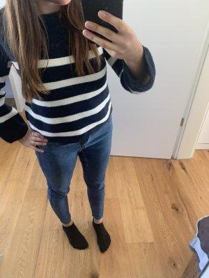 Streifen Pullover blau weiß