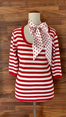 Streifen-Pullover mit 3/4-Arm, rot-weiß
