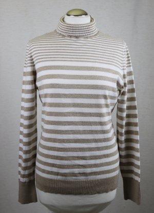 Streifen Rollkragen Pullover Esprit Größe L 40 Weiß Hellbraun Beige Pulli Baumwolle Rolli