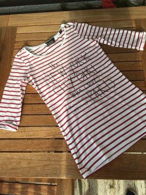 Maison Scotch Gestreept shirt wit-donkerrood