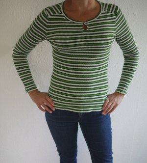 Streifen-Shirt, Esprit, grün-blau-weiß, Häkeloptik, S-XS, Top