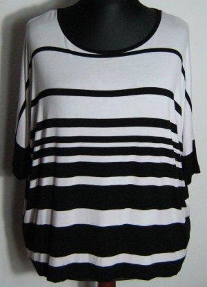 Streifen Shirt Größe 46 Schwarz Weiß