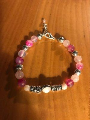Streifenachat rosa Perlmuttperlen Armband & Silberperlen  / ein Traum in rosa & pink
