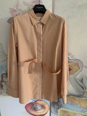 COS Blouse à manches longues blanc-brun sable coton