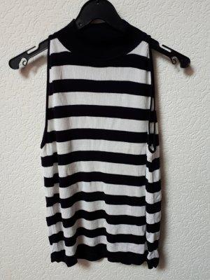 Comma Sweter bez rękawów z cienkiej dzianiny czarny-biały Wiskoza
