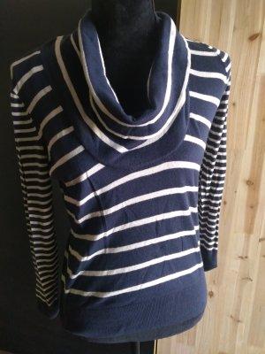 Mexx Camisa con cuello caído azul oscuro-blanco puro