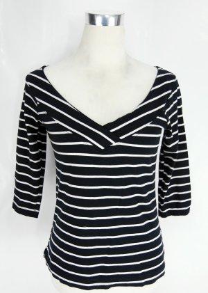 Camisa tipo Carmen blanco-azul oscuro Algodón