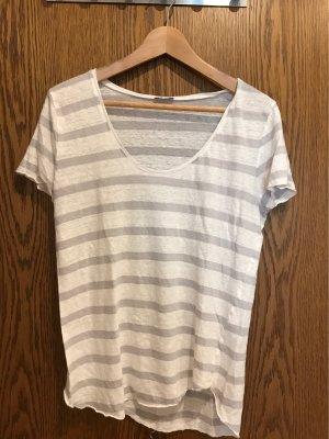 Streifenshirt von iHeart, grau/weiß, Leinen, neu