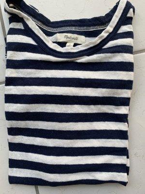 Madewell T-shirt rayé blanc cassé-bleu foncé coton