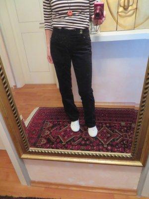 Strenesse Blue Gabriele Strehle Schwarz Samt Jeans - Gr. M - Samtjeans