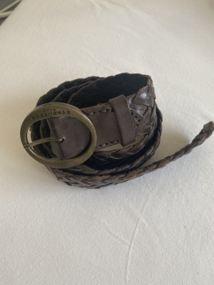 Blue Strenesse Braided Belt dark brown