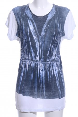 Strenesse Blue Long Shirt blue-white themed print casual look