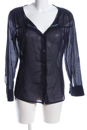 Strenesse Blue Blusa trasparente nero stile casual