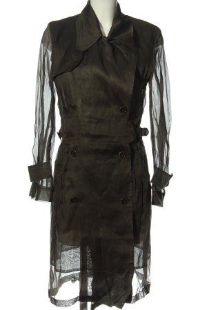 Strenesse Manteau long noir moucheté style décontracté