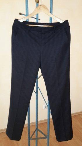 Strenesse Spodnie z zakładkami biały-ciemnoniebieski Żywa wełna
