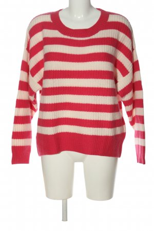 Strenesse Cashmere Jumper pink-white striped pattern casual look