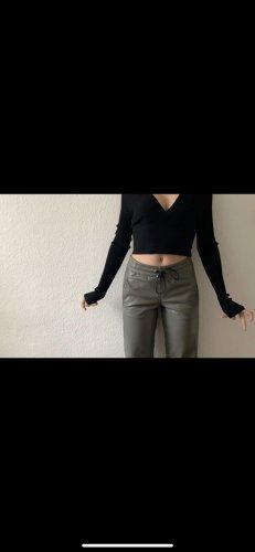 Strenesse Pantalone in pelle cachi-verde-grigio