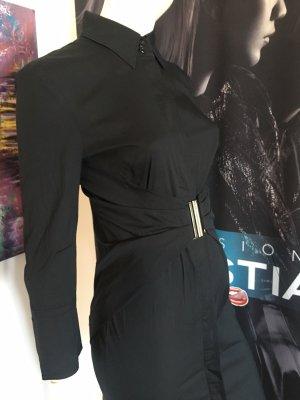 Strenesse Designer Kleid schwarz integrierter Gürtel gr 34 Baumwolle Luxus