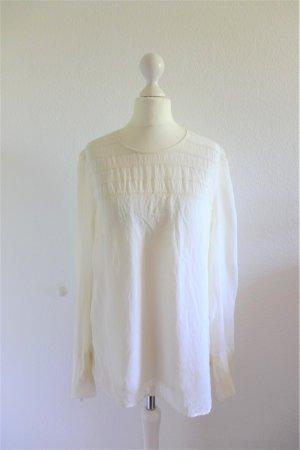 Strenesse Gabriele Strehle Bluse Shirt Seide weiß creme Gr. S 38