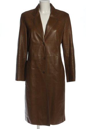 Strenesse Gabriele Strehle Skórzany płaszcz brązowy W stylu casual
