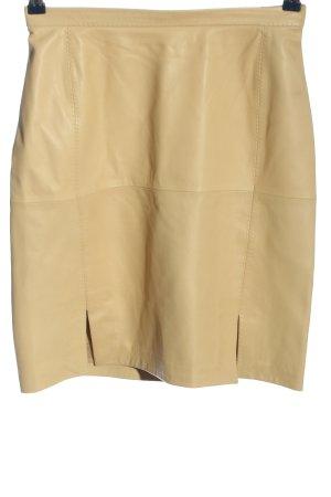 Strenesse Gabriele Strehle Falda de cuero color oro look casual