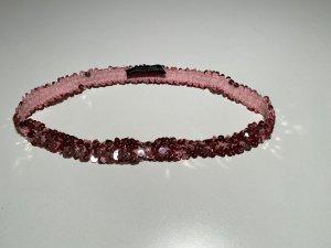 Strenesse Cinturón de tela color rosa dorado tejido mezclado