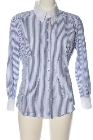 Strenesse Hemd-Bluse weiß-blau Streifenmuster Casual-Look