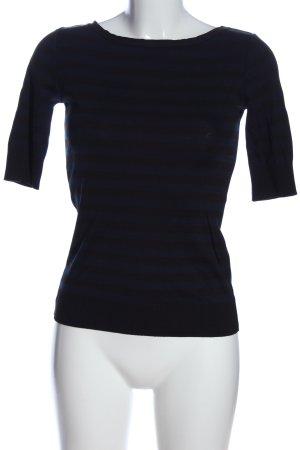 Strenesse Kurzarm-Bluse blau-schwarz Streifenmuster Casual-Look