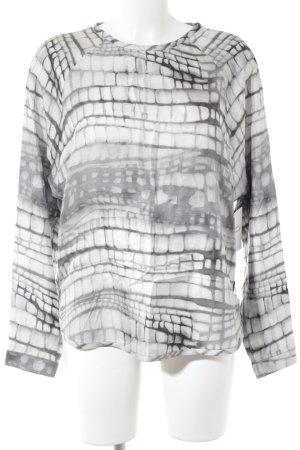 Strenesse Langarm-Bluse grau-hellgrau abstraktes Muster schlichter Stil