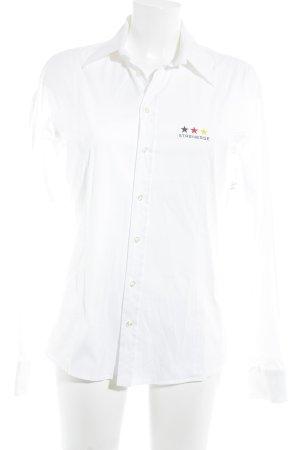 Strenesse Langarmhemd weiß Schriftzug gedruckt Business-Look