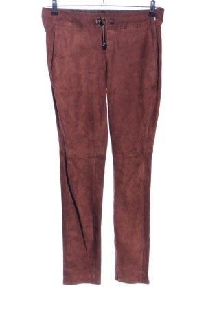 Strenesse Pantalón de cuero marrón look casual