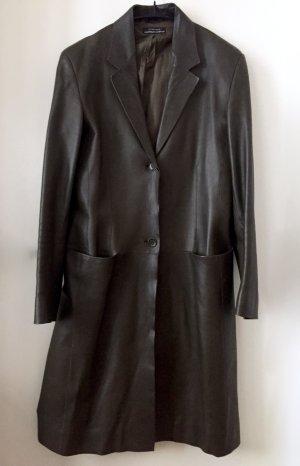 Strenesse Abrigo de cuero marrón oscuro-marrón-negro Cuero