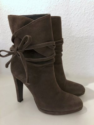 Strenesse Slouch Booties grey brown-brown leather