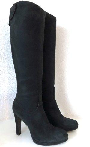 Strenesse Stiefel 39 Schwarz Veloursleder Kniehoch High Heel Absatz Boots Black