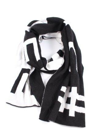 Strenesse Écharpe en tricot noir-blanc lettrage imprimé style décontracté