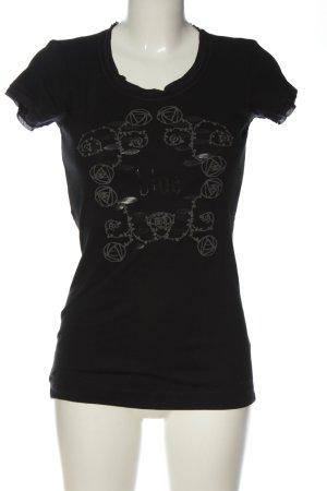 Strenesse T-shirt noir-gris clair imprimé avec thème style décontracté