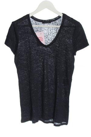 Strenesse T-shirt col en V noir moucheté style décontracté