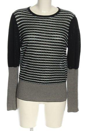 Strenesse Wełniany sweter czarny-biały Wzór w paski W stylu casual