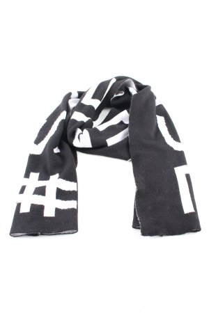Strenesse Écharpe en laine noir-blanc lettrage imprimé style décontracté