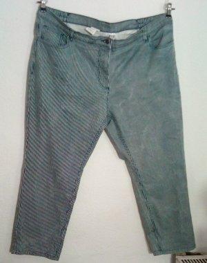 Stretch Jeans Hose Größe 25 K50 Gestreift Blau Weiß Dehnbund 5-Pocket