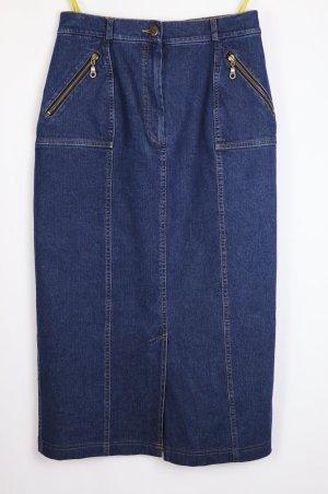 Falda de talle alto azul oscuro tejido mezclado