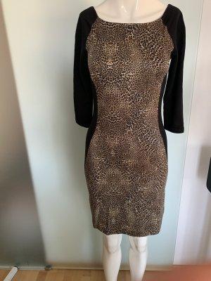 Stretch Kleid Gr 34 36 XS vor Reserved Leoparden Muster